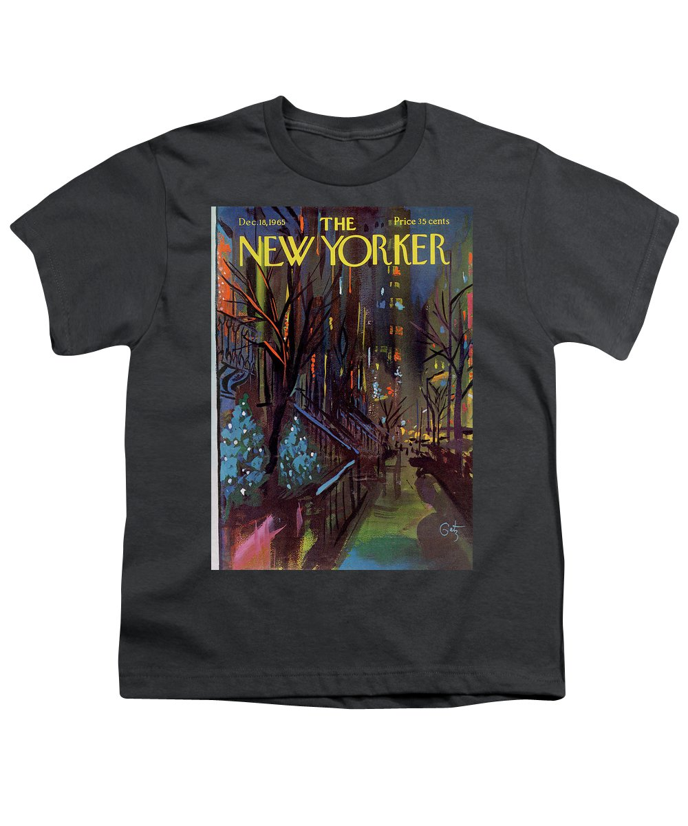 Christmas Youth T-Shirt featuring the painting Christmas In New York by Arthur Getz