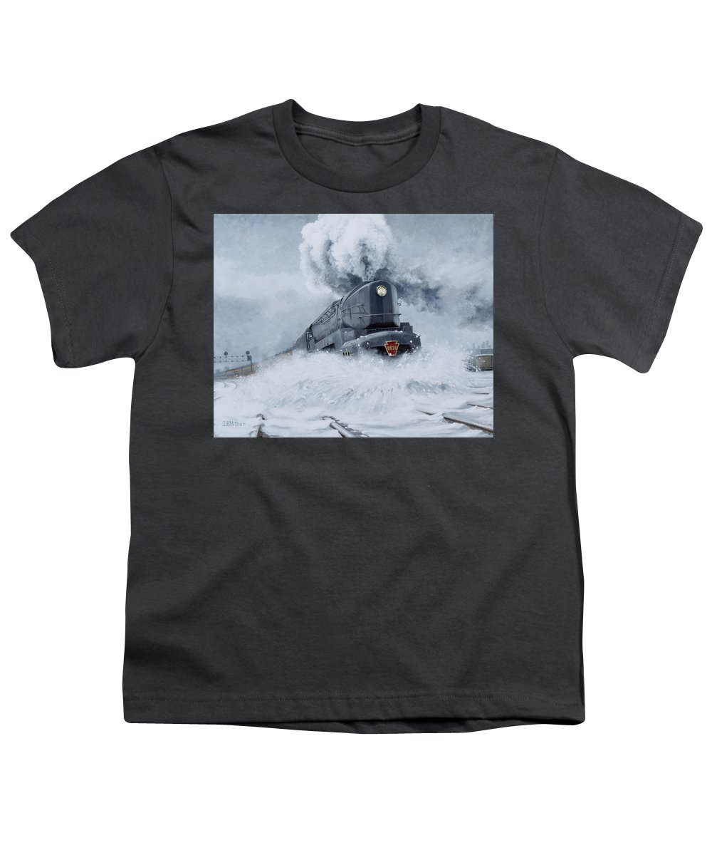 Trains Youth T-Shirt featuring the painting Dashing Through The Snow by David Mittner