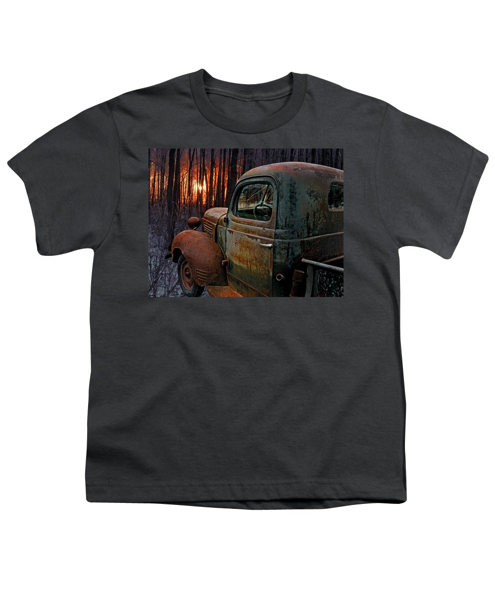 Pickup Youth T-Shirt featuring the photograph Deer Hunting by Ron Day