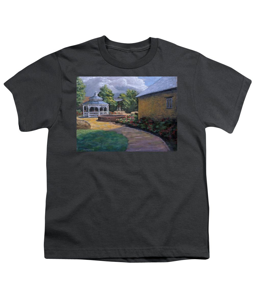 Potter Youth T-Shirt featuring the painting Gazebo In Potter Nebraska by Jerry McElroy