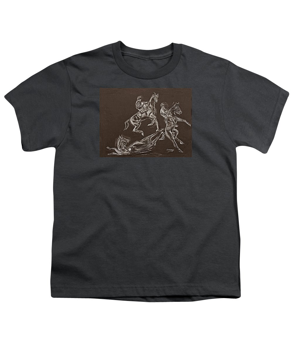 Rearing Horse Youth T-Shirt featuring the drawing Ghost Riders In The Sky by Tom Conway