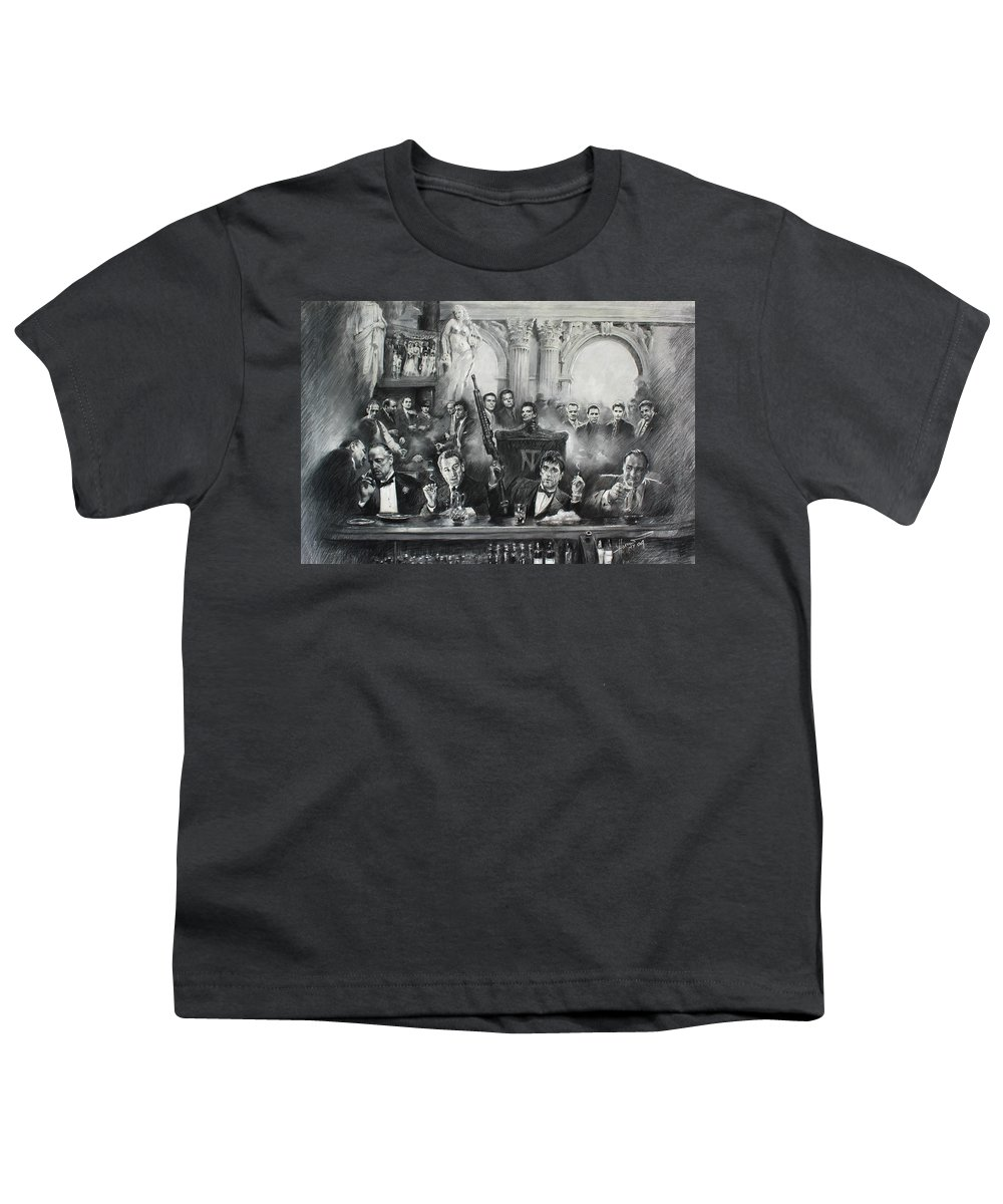Gangsters Youth T-Shirt featuring the drawing Make Way For The Bad Guys by Ylli Haruni