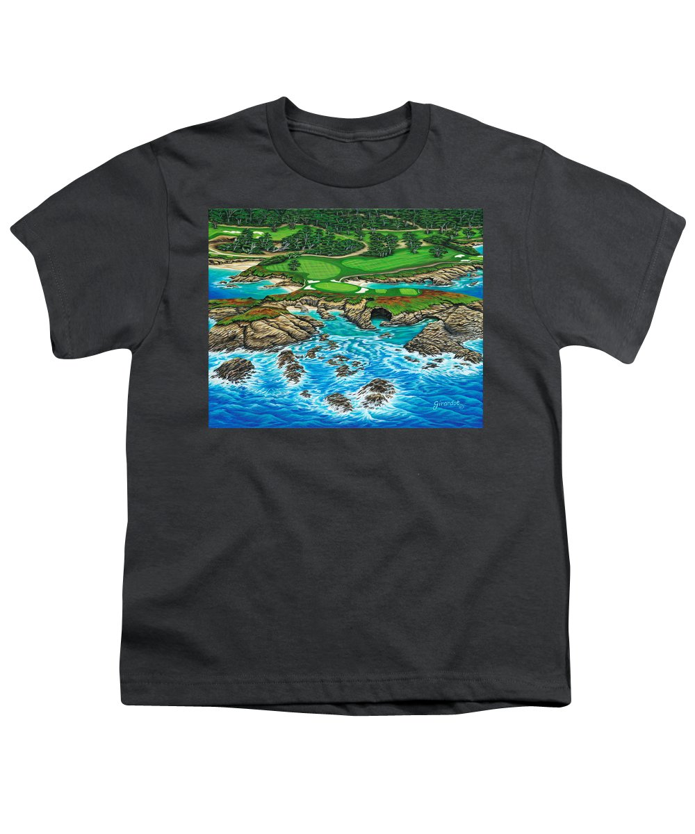 Ocean Youth T-Shirt featuring the painting Pebble Beach 15th Hole-north by Jane Girardot