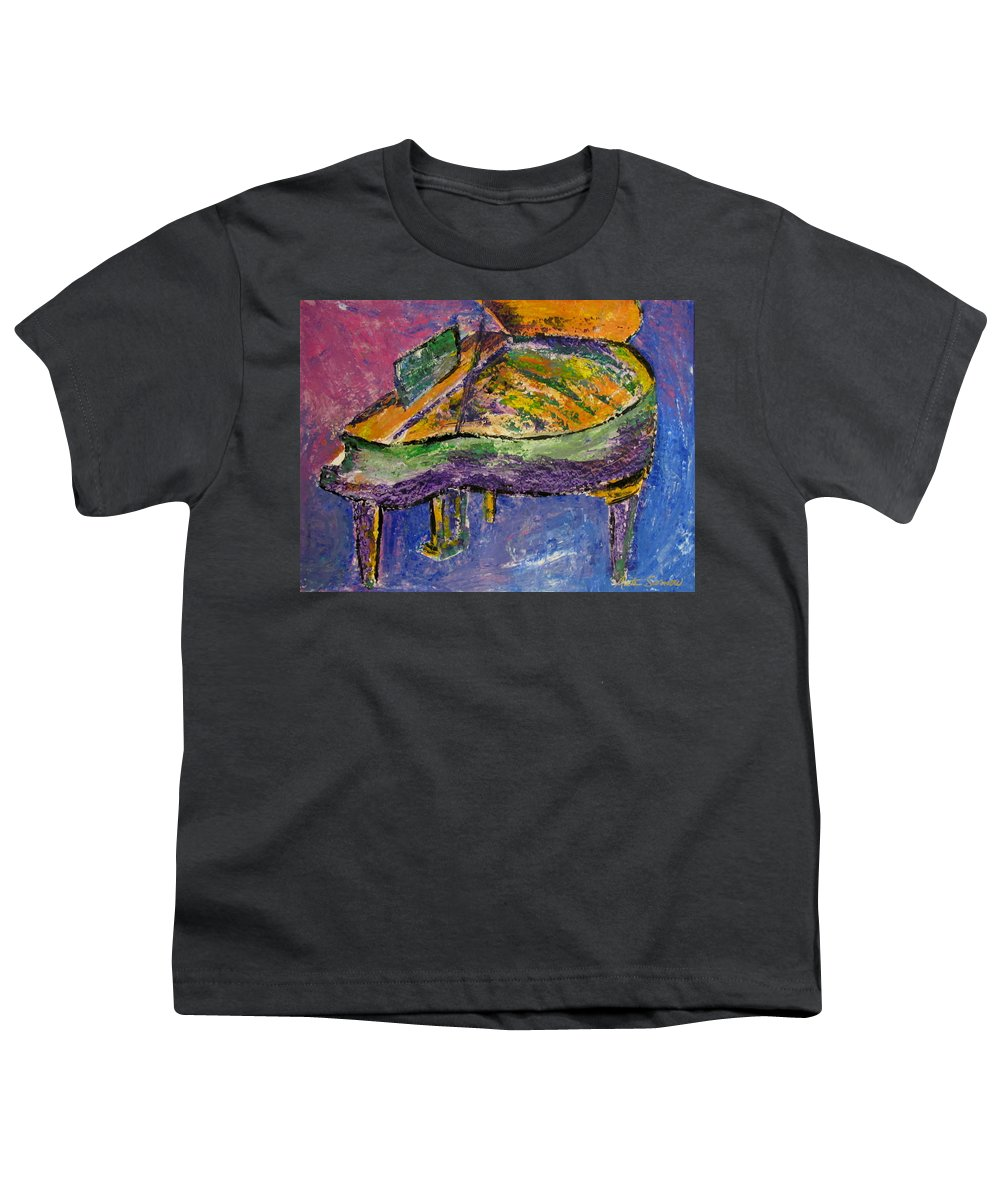 Impressionist Youth T-Shirt featuring the painting Piano Purple by Anita Burgermeister