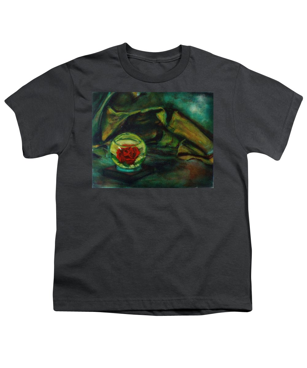 Still Life Youth T-Shirt featuring the painting Preserved Rose . . Draped Canvas by Sean Connolly