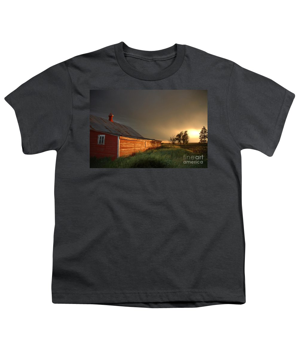 Barn Youth T-Shirt featuring the photograph Red Barn At Sundown by Jerry McElroy