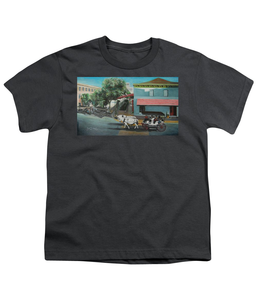 Youth T-Shirt featuring the painting Savannah City Market by Jude Darrien