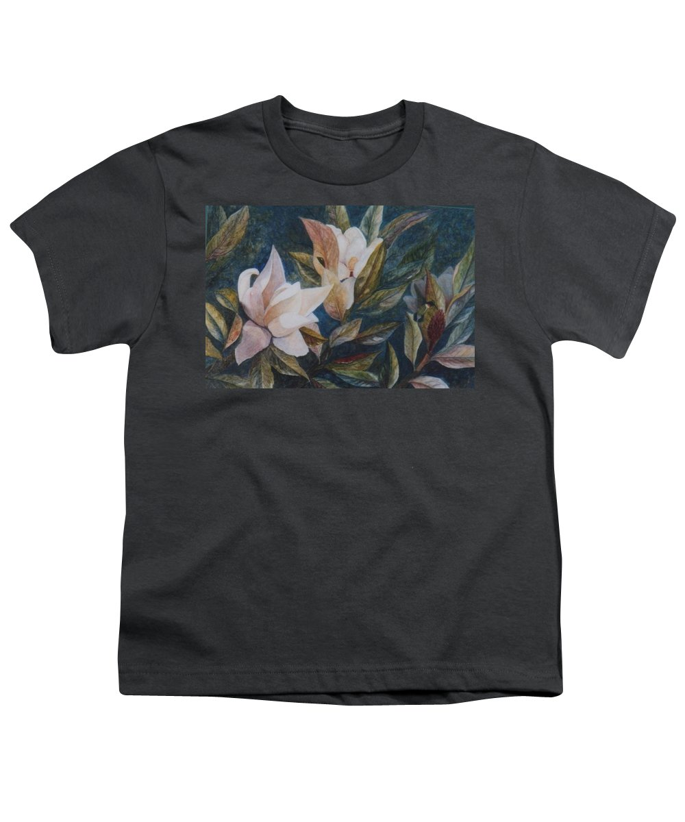 Magnolias; Humming Bird Youth T-Shirt featuring the painting Serenity by Ben Kiger