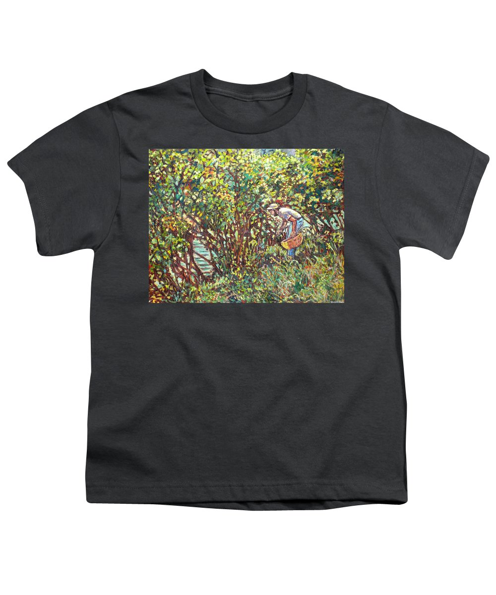 Landscape Youth T-Shirt featuring the painting The Mushroom Picker by Kendall Kessler