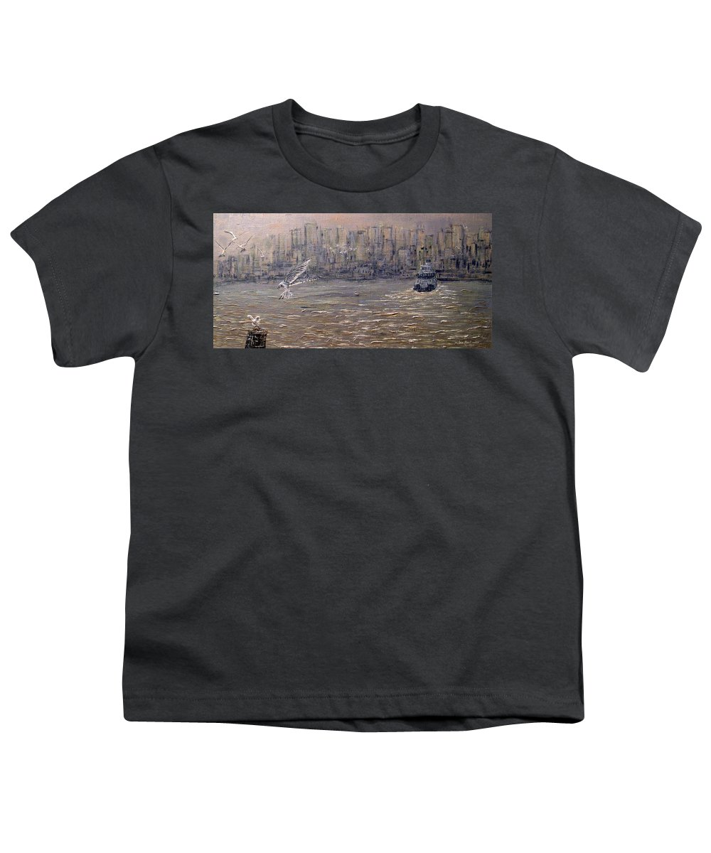 Toronto Youth T-Shirt featuring the painting Toronto Harbor Morning by Ian MacDonald