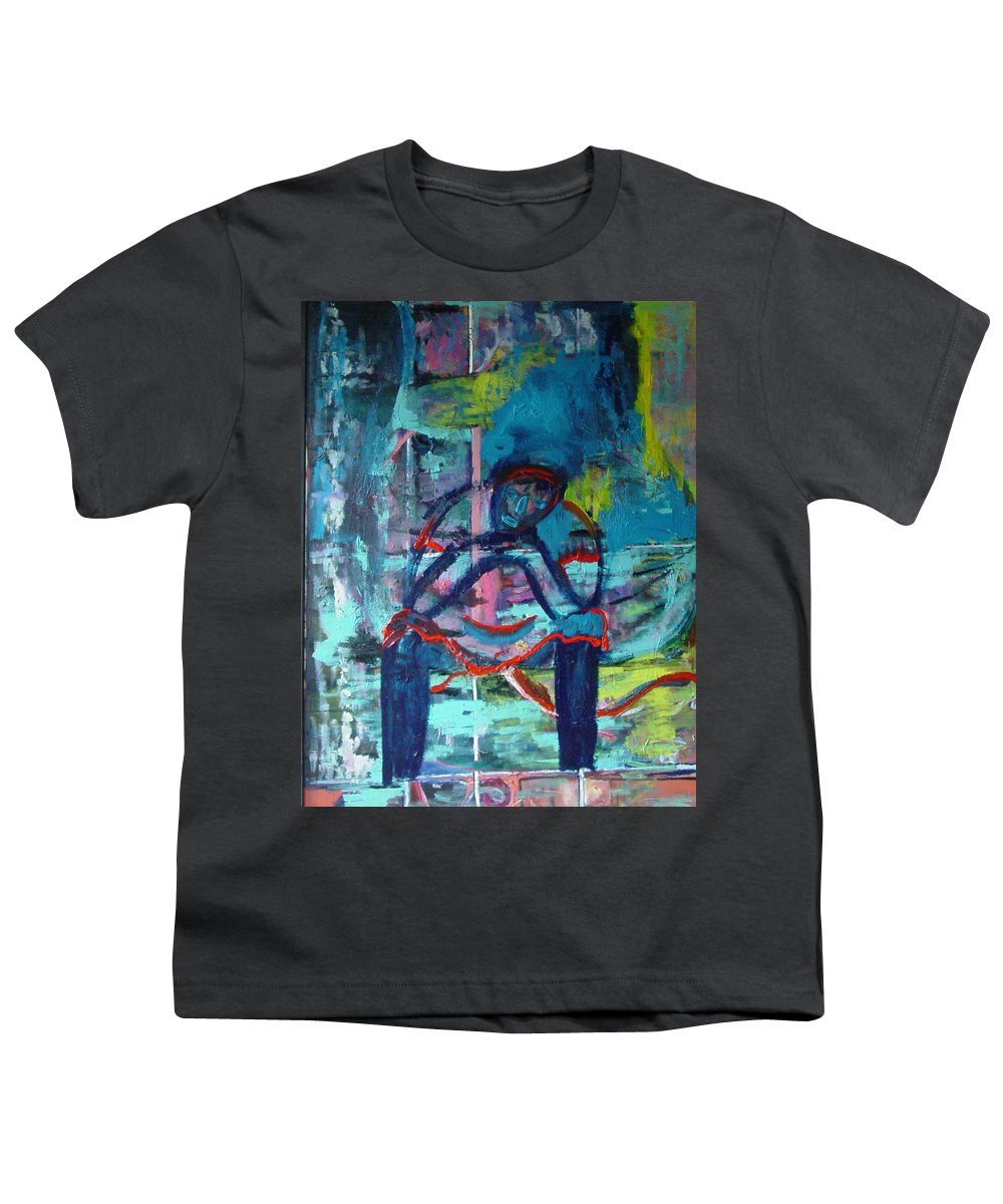 Woman On Bench Youth T-Shirt featuring the painting Waiting by Peggy Blood