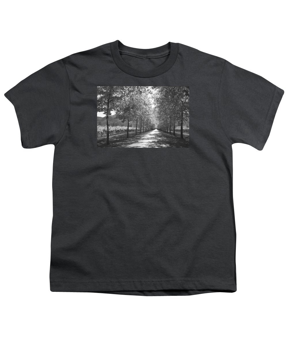 Black And White Youth T-Shirt featuring the photograph Wine Country Napa Black And White by Suzanne Gaff