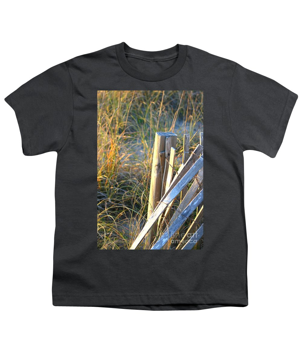 Post Youth T-Shirt featuring the photograph Wooden Post And Fence At The Beach by Nadine Rippelmeyer