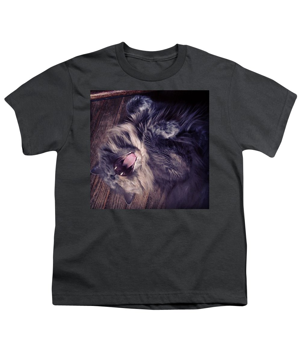 Fangs Youth T-Shirt featuring the photograph Has #fangs. Not Afraid To Use 'em by Katie Cupcakes