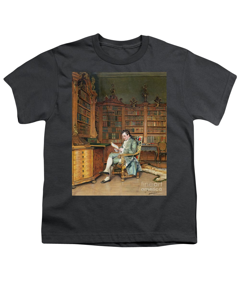 The Bibliophile Youth T-Shirt featuring the painting The Bibliophile by Johann Hamza
