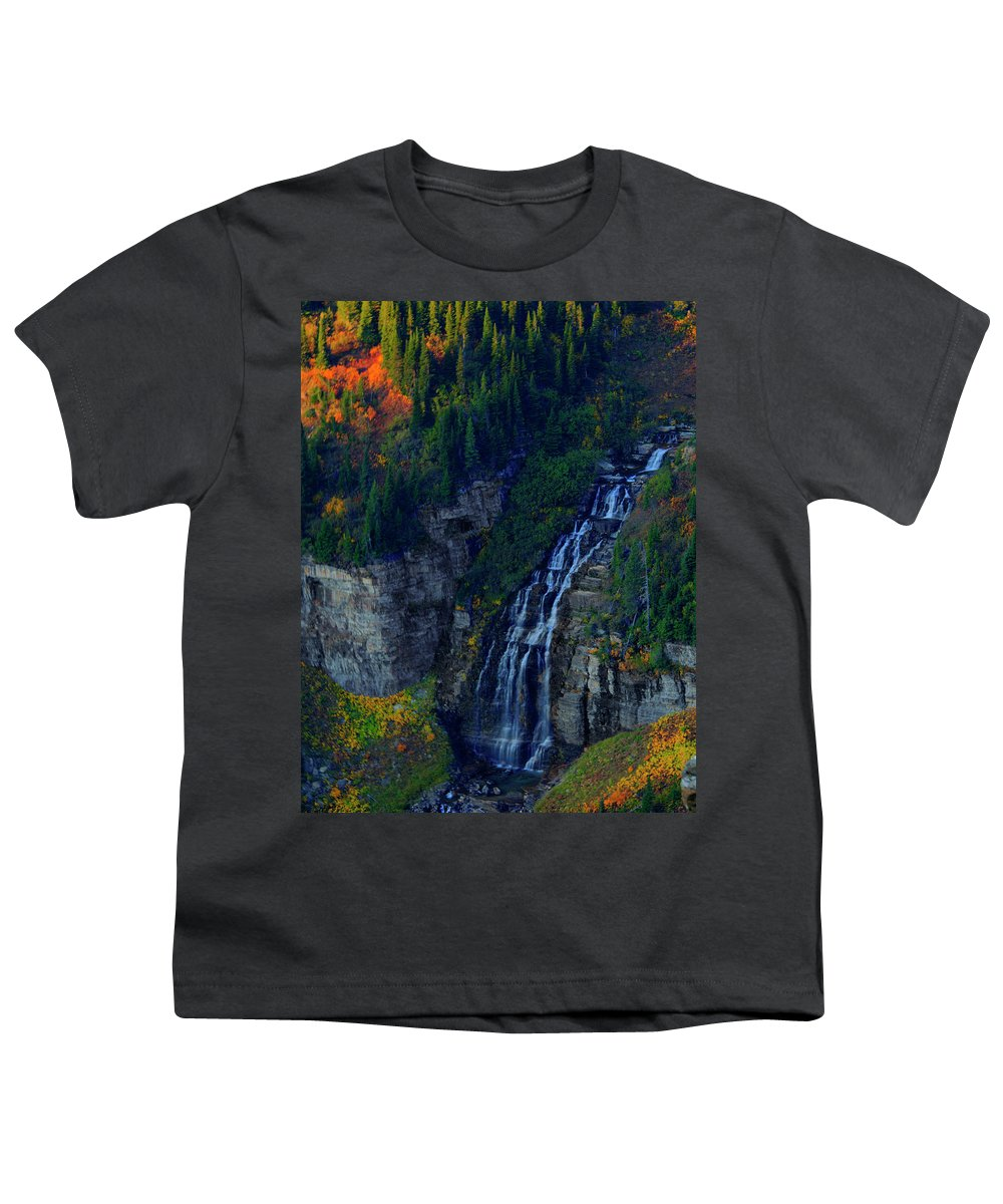 Glacier Youth T-Shirt featuring the photograph Glacier Waterfall by Roy Nierdieck