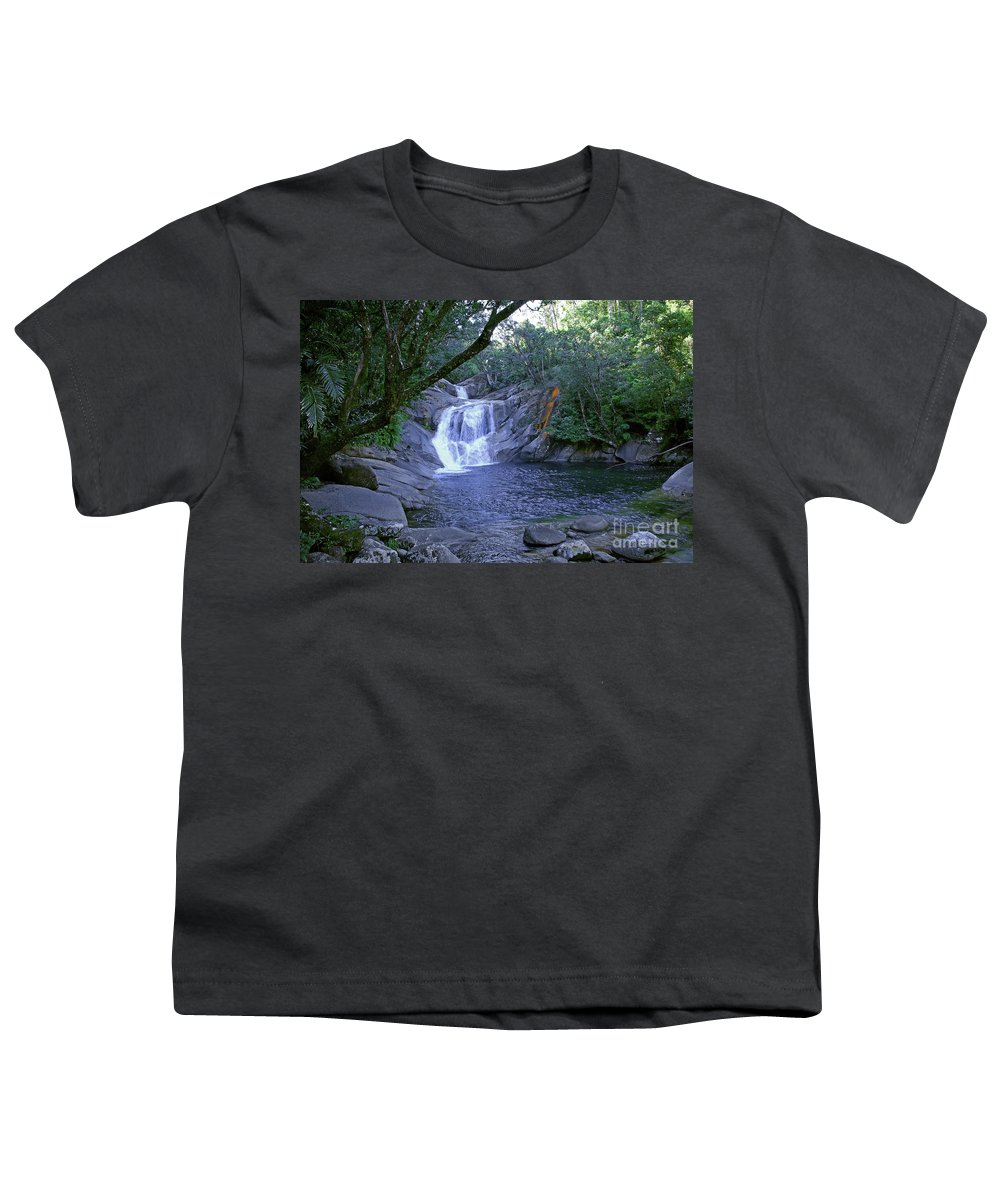 Tropical Youth T-Shirt featuring the photograph Josephine Falls And Tropical Pool by Kerryn Madsen- Pietsch