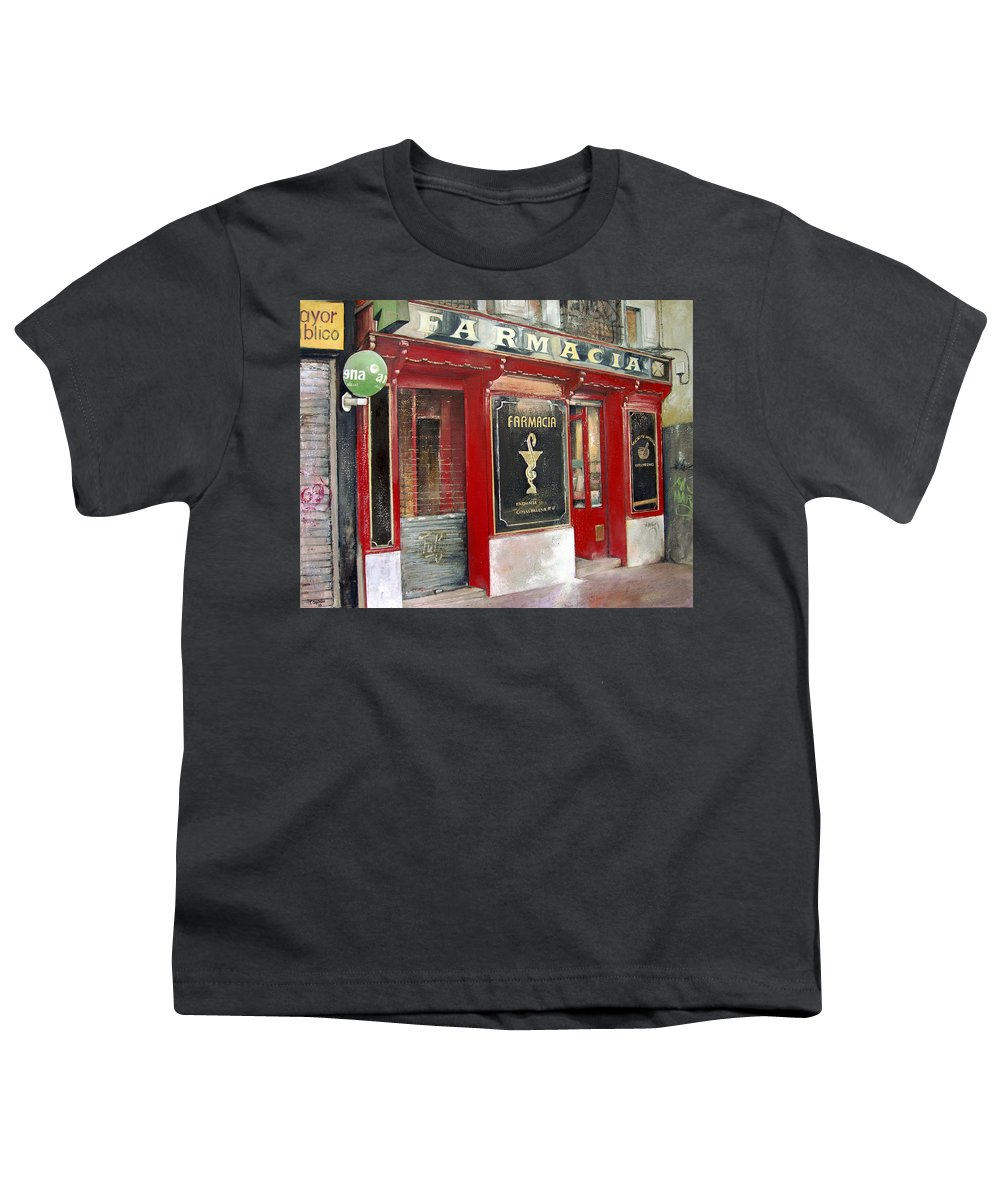 Farmacia Youth T-Shirt featuring the painting Old Pharmacy by Tomas Castano