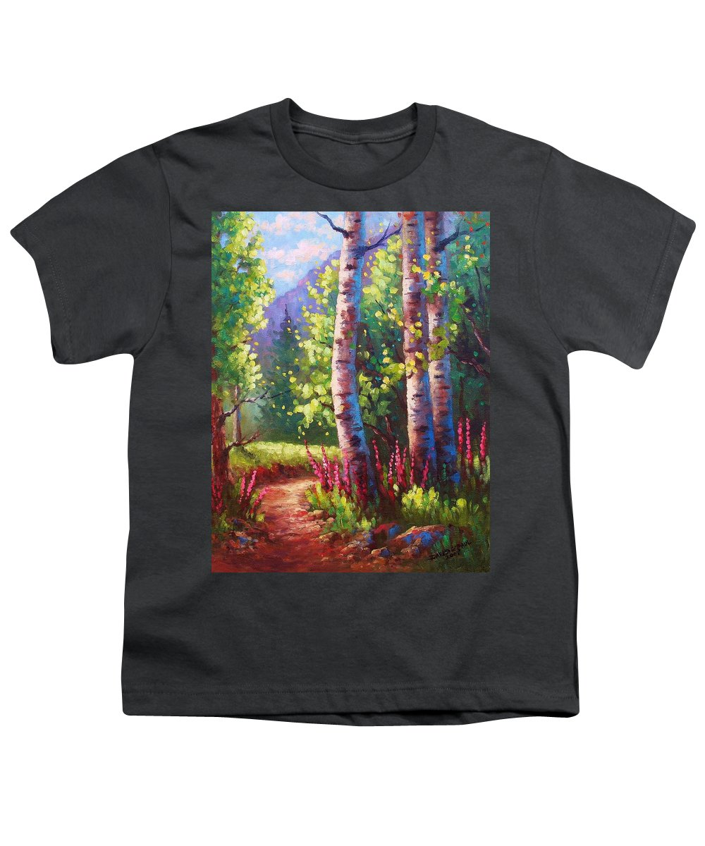 Aspen Youth T-Shirt featuring the painting Spring Path by David G Paul