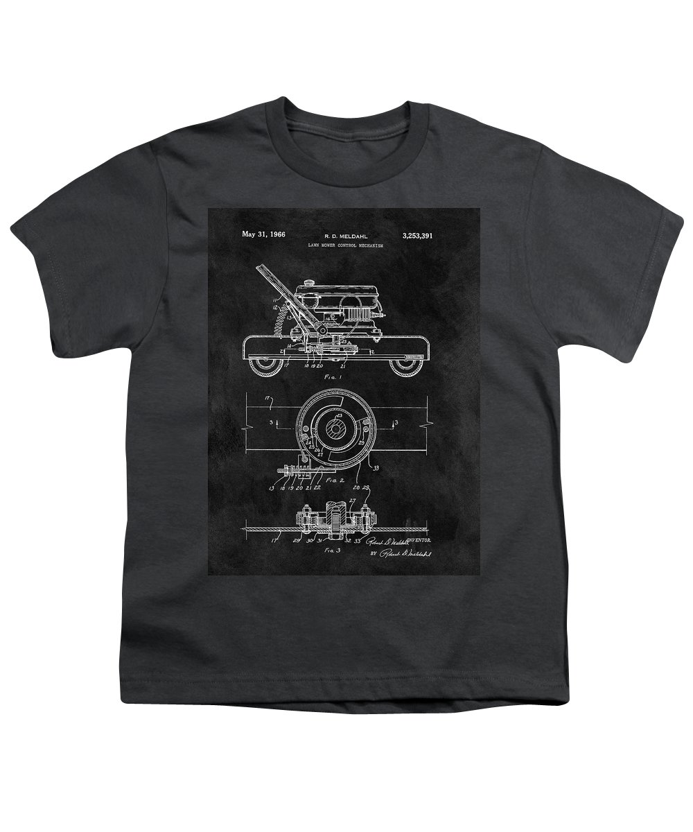1966 Lawn Mower Patent Youth T-Shirt featuring the drawing 1966 Lawn Mower Patent Image by Dan Sproul