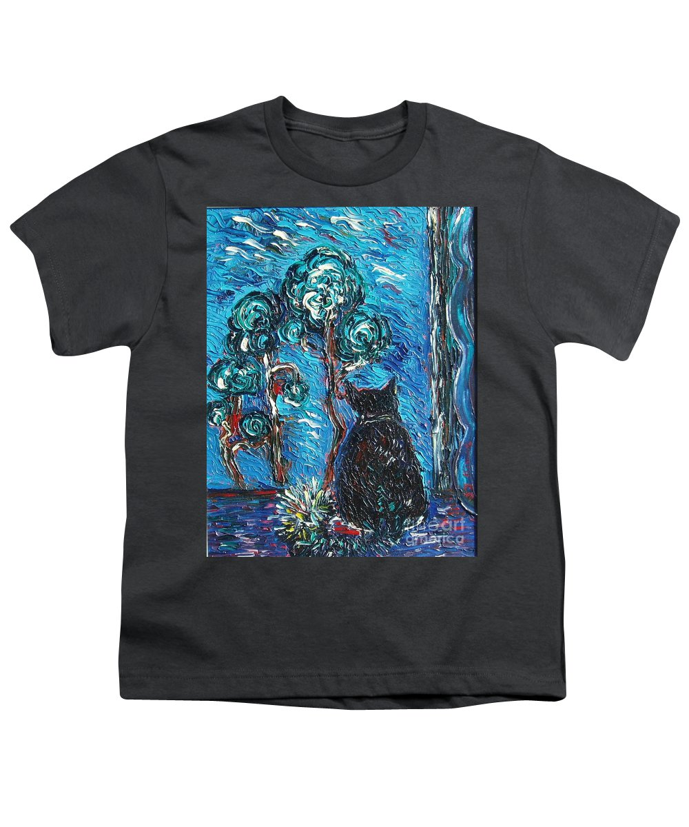 Cat Paintings Youth T-Shirt featuring the painting A Black Cat by Seon-Jeong Kim