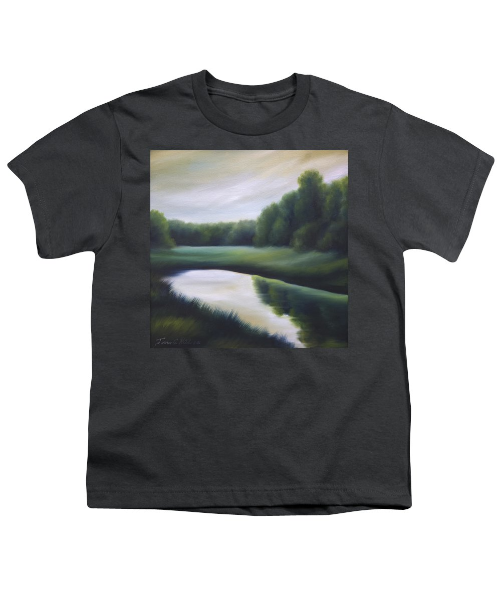 Nature; Lake; Sunset; Sunrise; Serene; Forest; Trees; Water; Ripples; Clearing; Lagoon; James Christopher Hill; Jameshillgallery.com; Foliage; Sky; Realism; Oils; Green; Tree Youth T-Shirt featuring the painting A Day In The Life 3 by James Christopher Hill