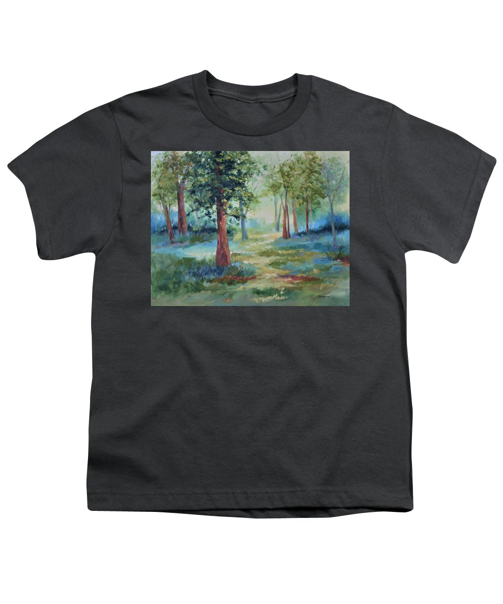 Trees Youth T-Shirt featuring the painting A Path Not Taken by Ginger Concepcion