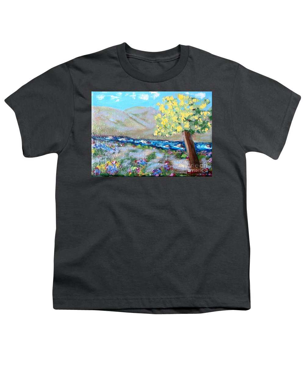 Landscapes Youth T-Shirt featuring the painting A Quiet Place by Laurie Morgan