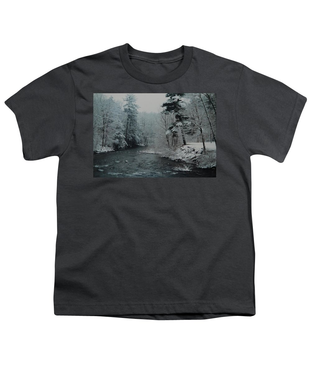 B&w Youth T-Shirt featuring the photograph A Winter Waterland by Rob Hans