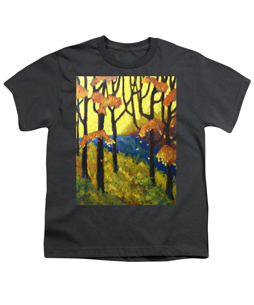 Art Youth T-Shirt featuring the painting Abstract Forest by Richard T Pranke