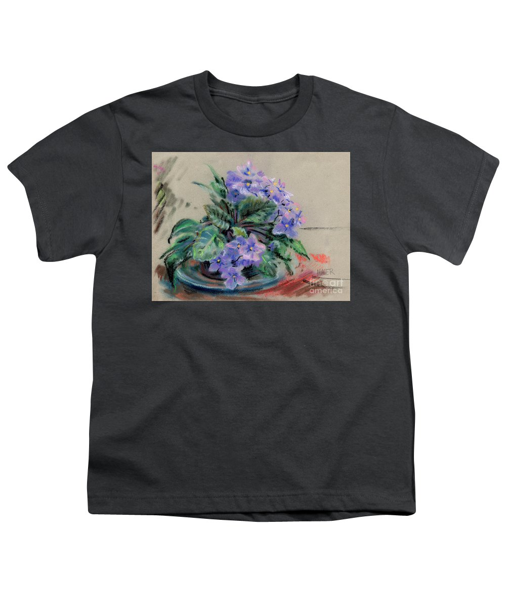 African Violets Youth T-Shirt featuring the drawing African Violet by Donald Maier