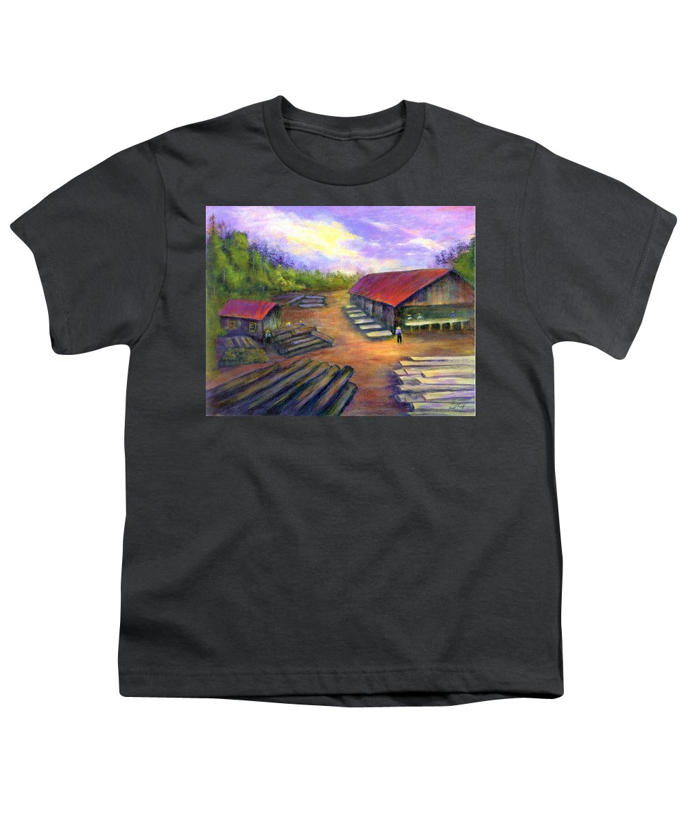 Amish Youth T-Shirt featuring the painting Amish Lumbermill by Gail Kirtz