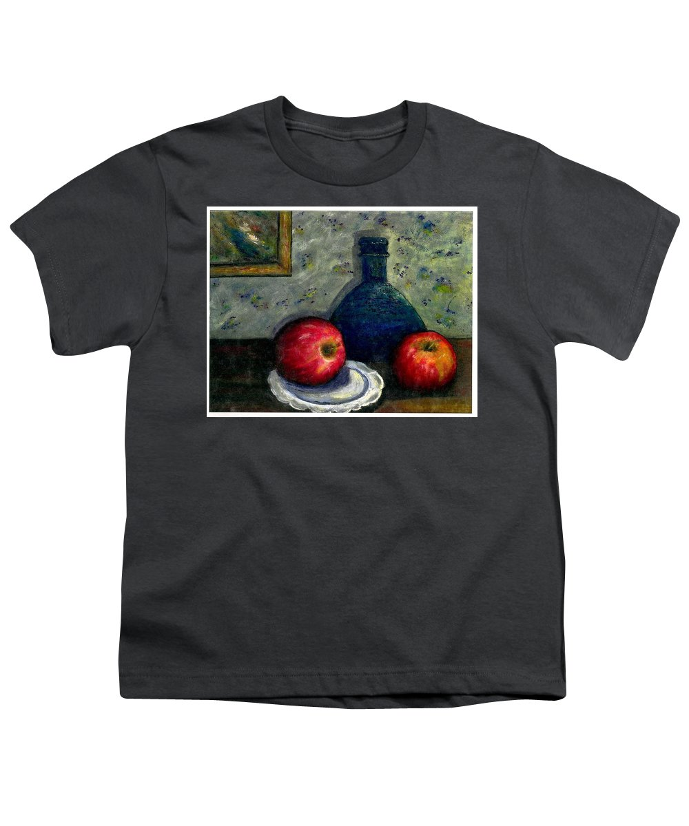Still Life Youth T-Shirt featuring the painting Apples And Bottles by Gail Kirtz