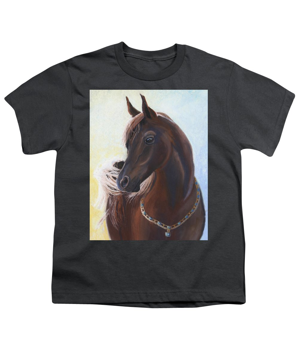Horse Youth T-Shirt featuring the painting Arabian Prince by Heather Coen