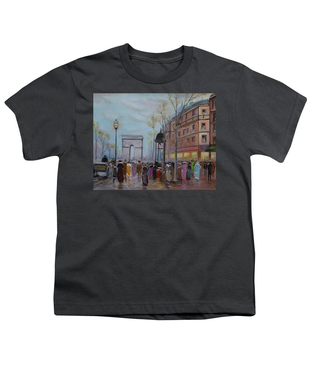 Paris Youth T-Shirt featuring the painting Arc De Triompfe - Lmj by Ruth Kamenev