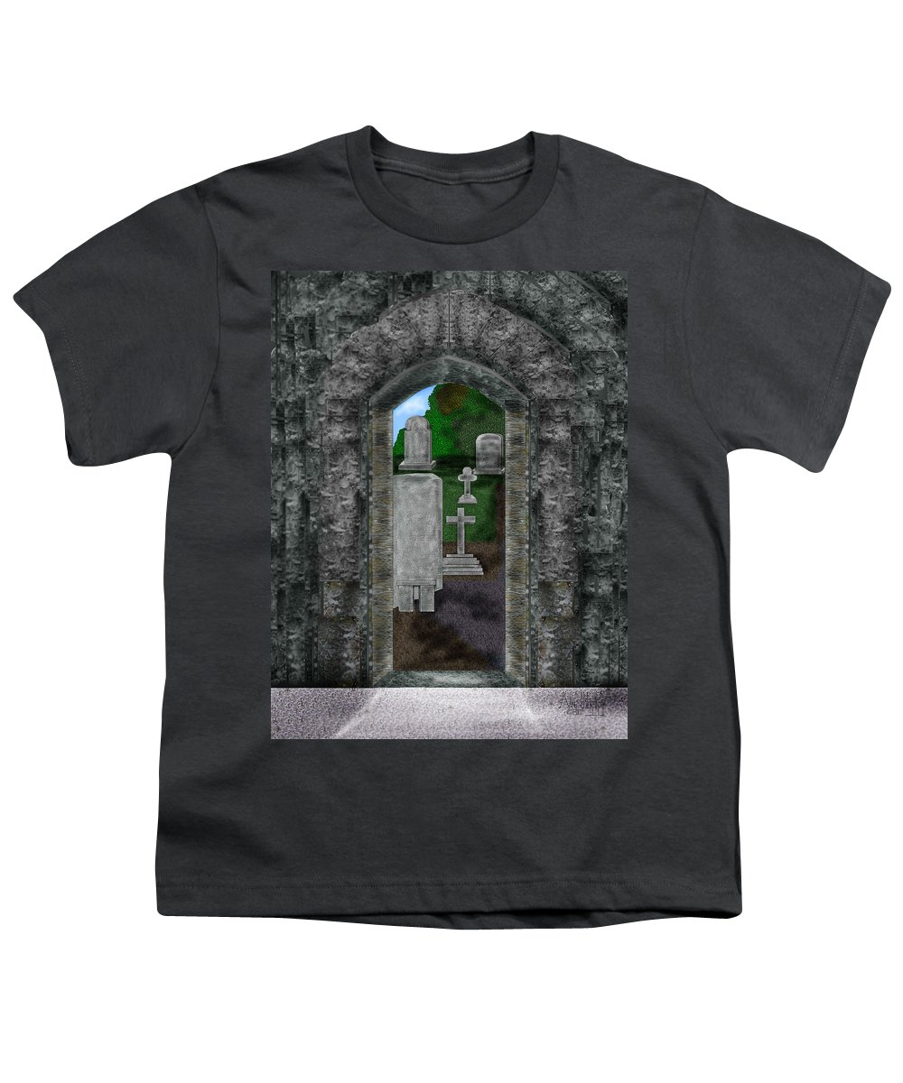 Digital Landscape Youth T-Shirt featuring the painting Arches And Cross In Ireland by Anne Norskog