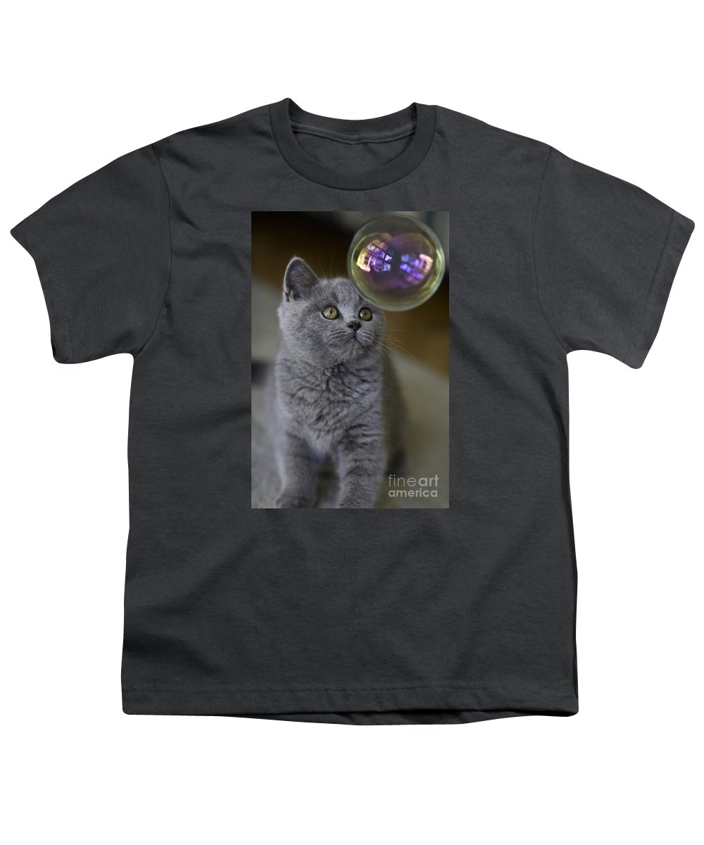 Cat Youth T-Shirt featuring the photograph Archie With Bubble by Sheila Smart Fine Art Photography