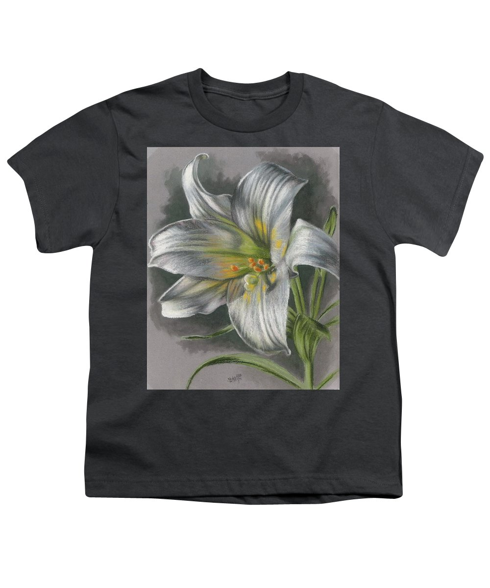 Easter Lily Youth T-Shirt featuring the mixed media Arise by Barbara Keith