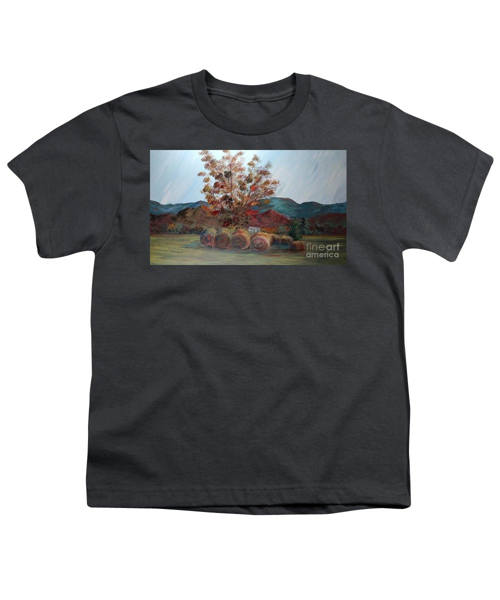 Autumn Youth T-Shirt featuring the painting Arkansas Autumn by Nadine Rippelmeyer