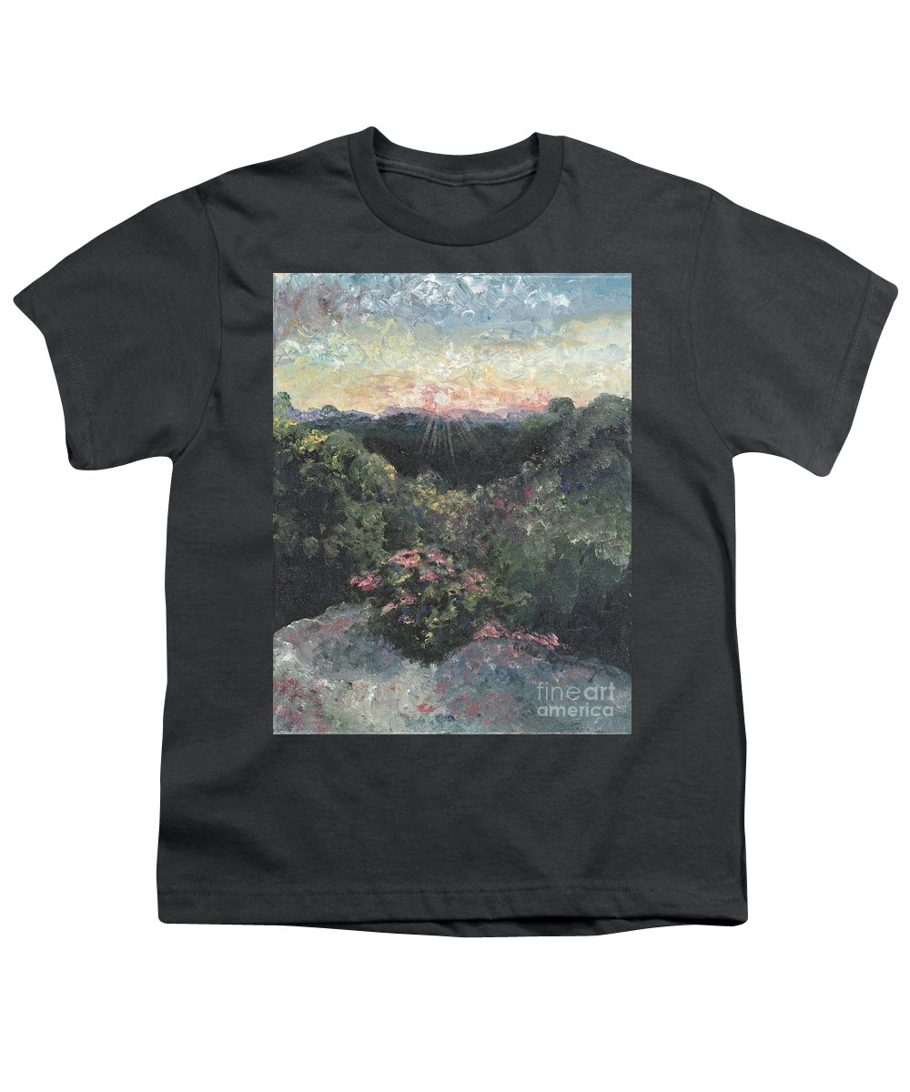 Landscape Youth T-Shirt featuring the painting Arkansas Mountain Sunset by Nadine Rippelmeyer