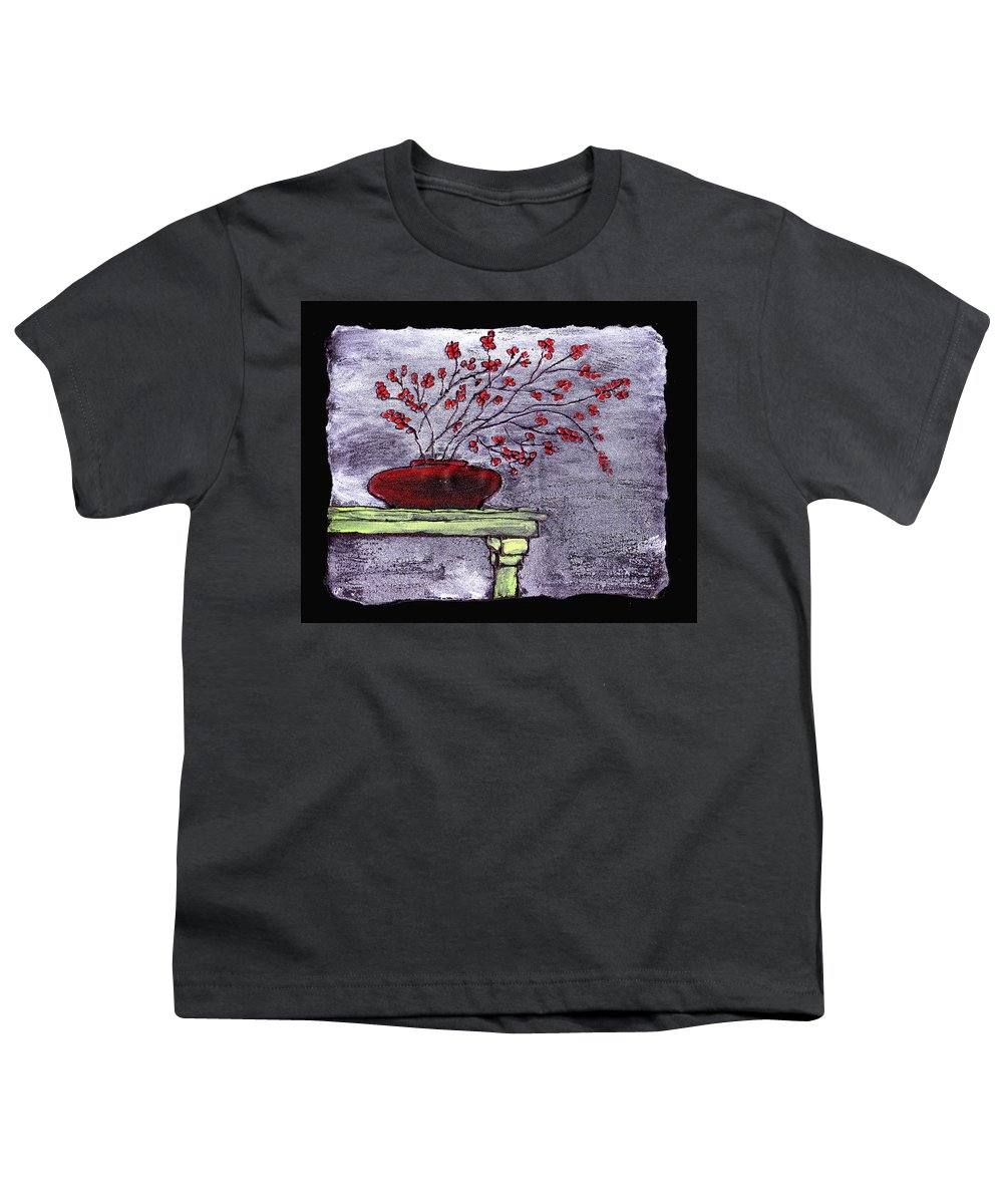 Flower Youth T-Shirt featuring the painting Arrangement In Red by Wayne Potrafka