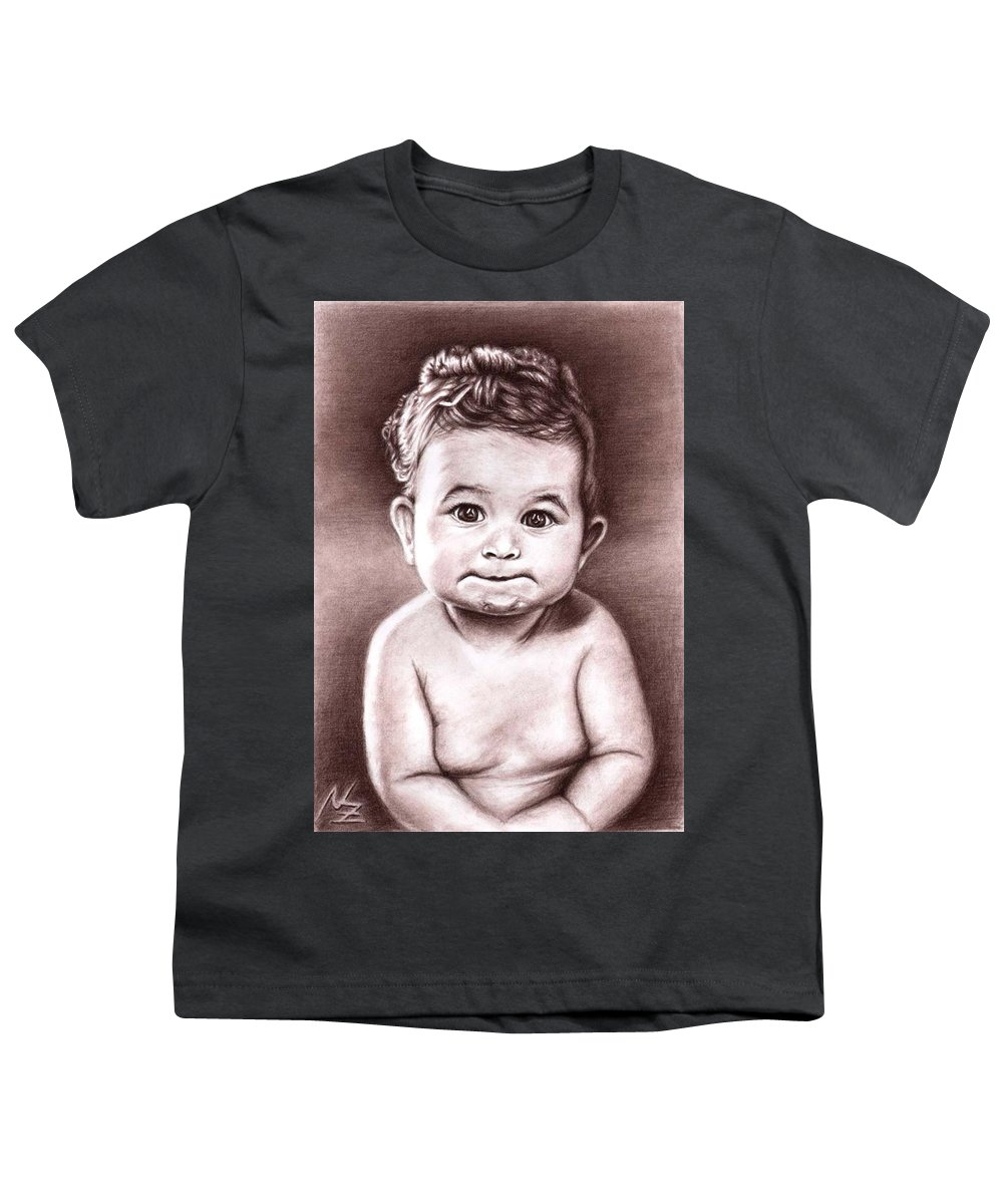 Baby Child Kind Enfant Face Sepia Charcoal Portrait Realism Youth T-Shirt featuring the drawing Babyface by Nicole Zeug