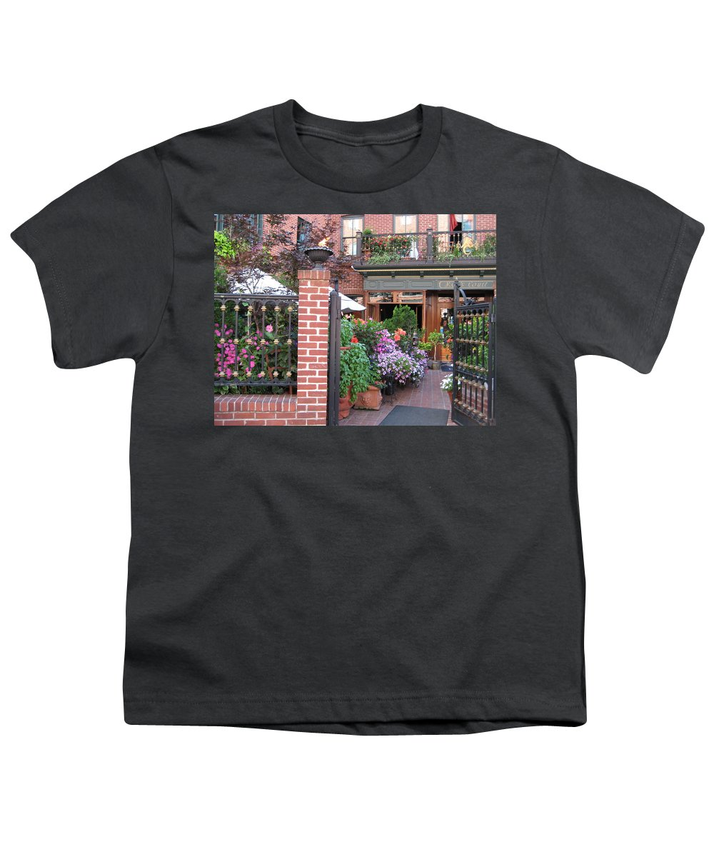 Courtyard Youth T-Shirt featuring the photograph Baltimore Cafe     By Jean Carton by Jerrold Carton