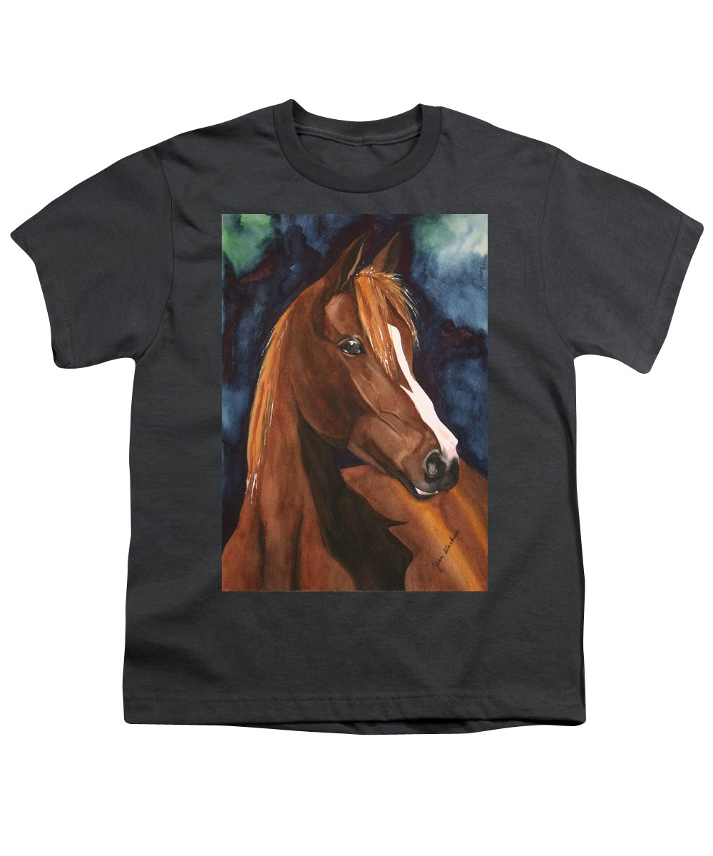 Horse Youth T-Shirt featuring the painting Bay On Blue 2 by Jean Blackmer