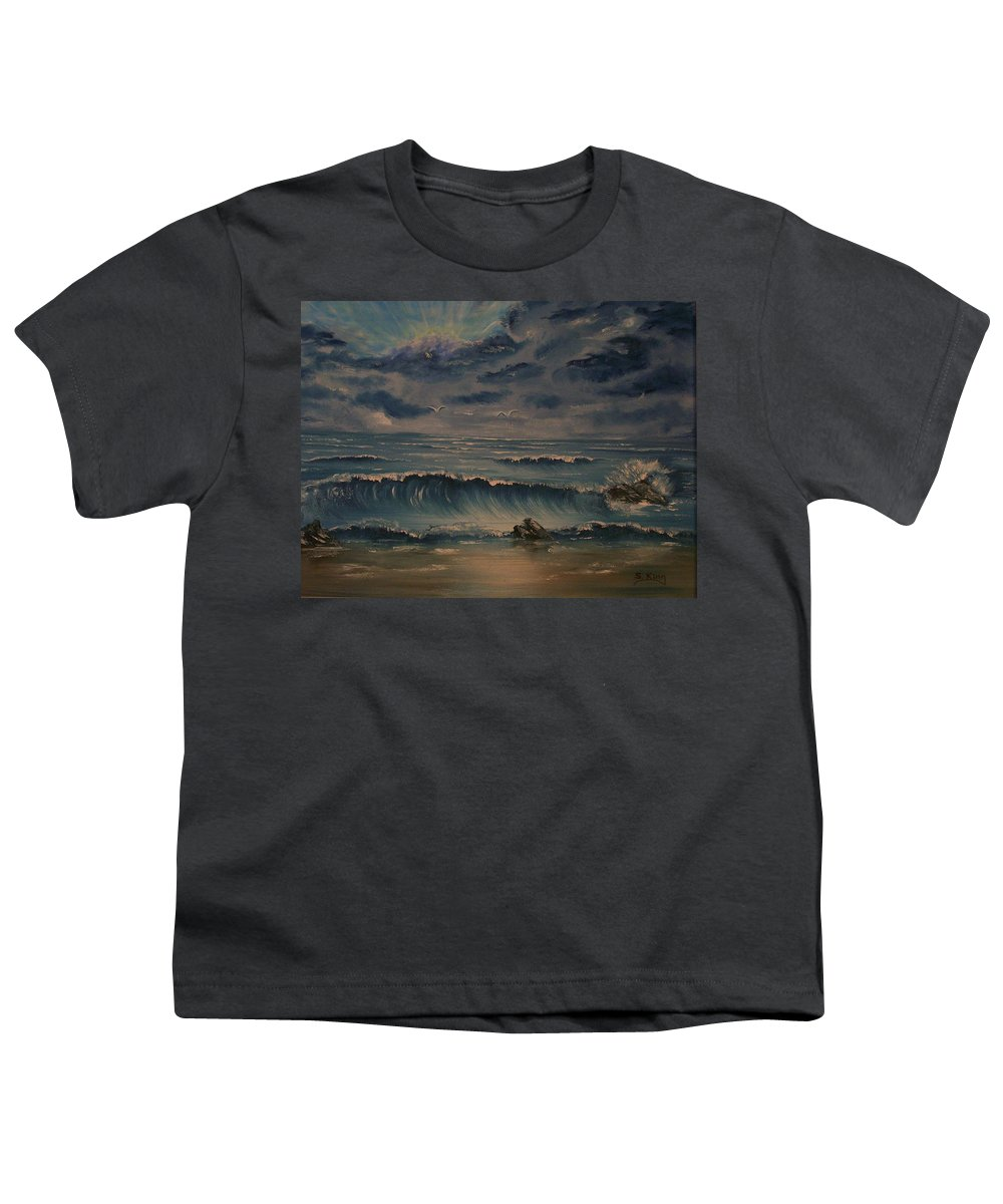 Water Youth T-Shirt featuring the painting Beach Scene by Stephen King