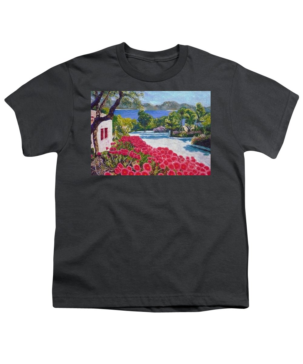 Landscape Youth T-Shirt featuring the painting Beach With Flowers by Ericka Herazo