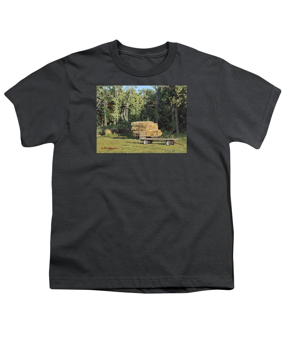 Landscape Youth T-Shirt featuring the painting Behind The Grove by Bruce Morrison