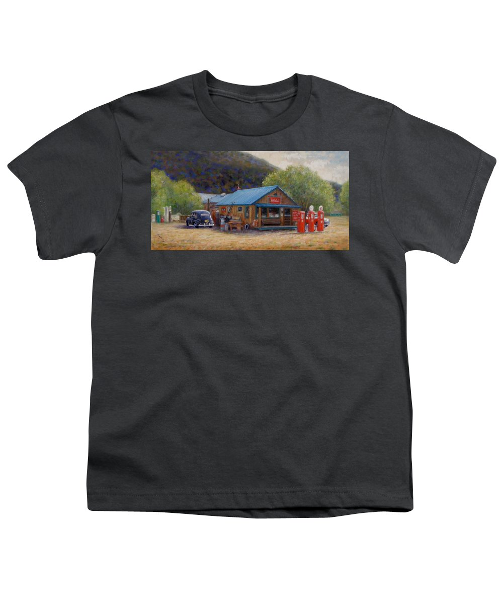 Realism Youth T-Shirt featuring the painting Below Taos 2 by Donelli DiMaria