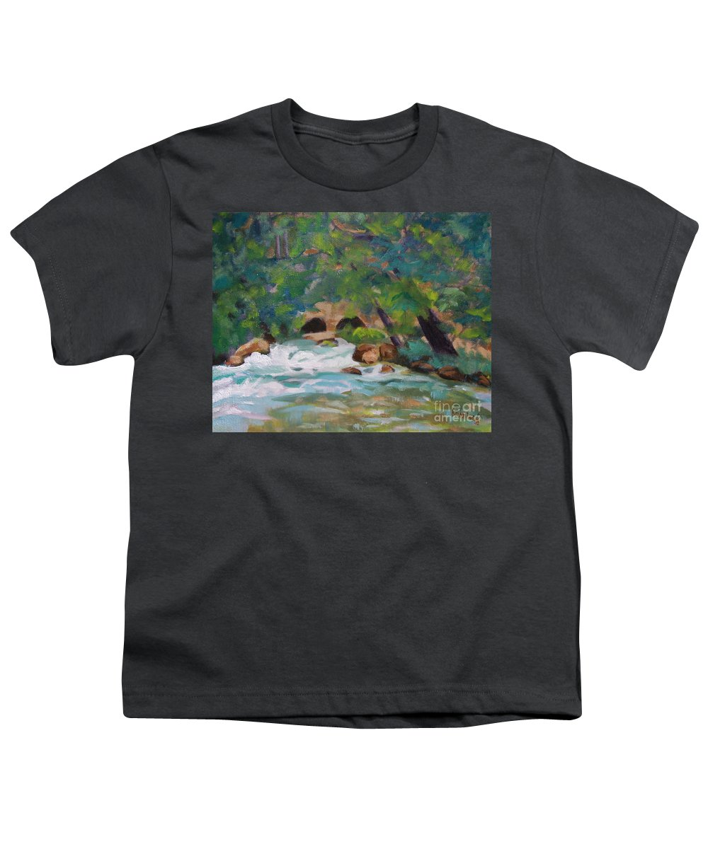 Impressionistic Youth T-Shirt featuring the painting Big Spring On The Current River by Jan Bennicoff