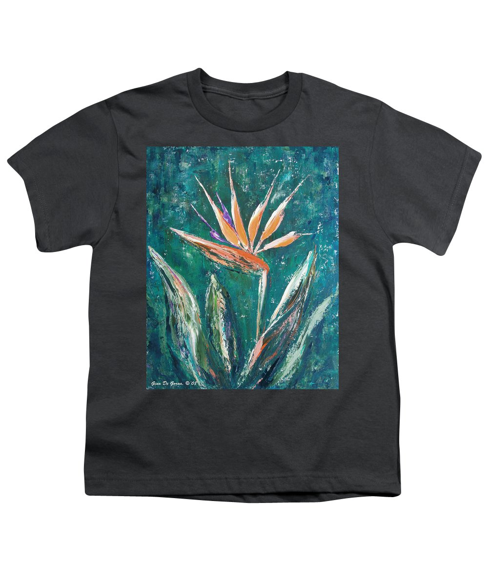 Bird Of Paradise Youth T-Shirt featuring the painting Bird Of Paradise by Gina De Gorna